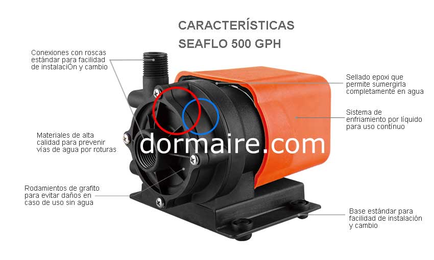 specifications pump SEAFLO 500GPH
